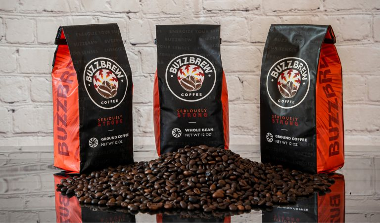 BuzzBrew Coffee bags with roasted beans